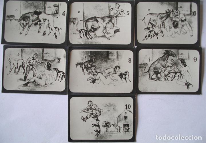 Postales: Serie completa 10 láminas Dibujos Erótico porno, originales años 20. Med 8,50 x 6 cm - Foto 3 - 136980930
