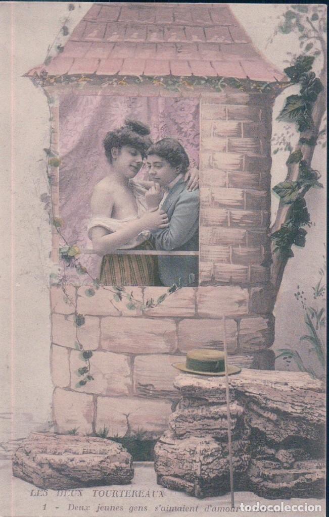 SERIE DE 6 POSTALES - LES DEUX TOURTEREAUX - SERIE 1565 - EN PERFECTO ESTADO Y CON SU FUNDA DE PAPEL (Coleccionismo para Adultos - Postales Temáticas - Eróticas y Pin Ups)