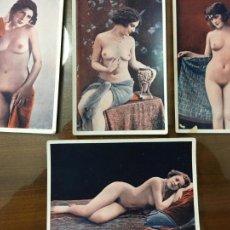 Postales: LOTE DE 4 FOTOGRAFÍAS ERÓTICAS, PORNOGRAFÍA, COLOREADAS, PRINCIPIO SIGLO XX. MIDEN 14 X 9 CMS. Lote 203842693