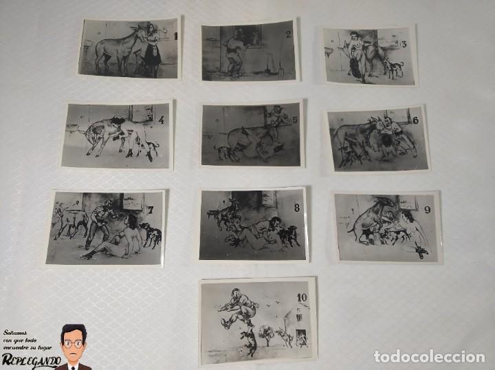 """COLECCIÓN 10 FOTOS PORNO ERÓTICAS (CROMOS NUMERADOS) """"EL BURRO"""" ZOOFILIA - AÑOS 30/40 (Coleccionismo para Adultos - Postales Temáticas - Eróticas y Pin Ups)"""