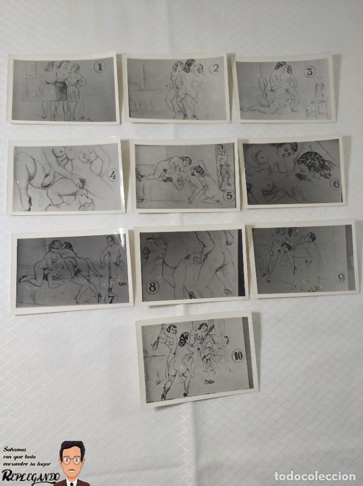 """COLECCIÓN 10 FOTOS PORNO ERÓTICAS (CROMOS NUMERADOS) """"EL INTRUSO"""" - AÑOS 30/40 (Coleccionismo para Adultos - Postales Temáticas - Eróticas y Pin Ups)"""