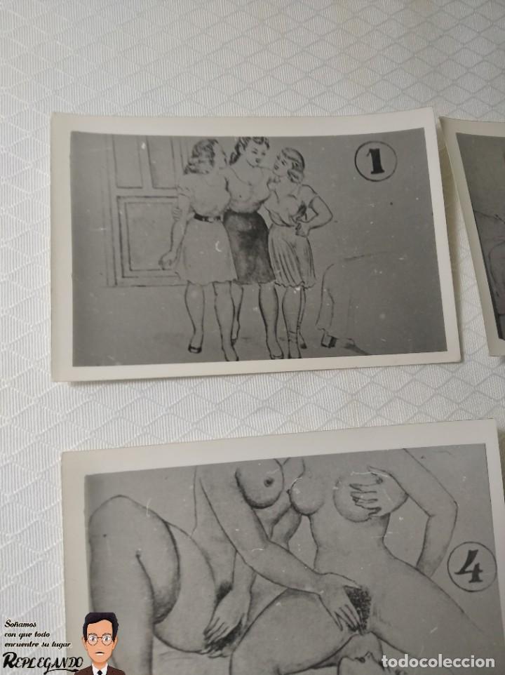 """Postales: COLECCIÓN 10 FOTOS PORNO ERÓTICAS (CROMOS NUMERADOS) """"EL INTRUSO"""" - AÑOS 30/40 - Foto 2 - 230803385"""