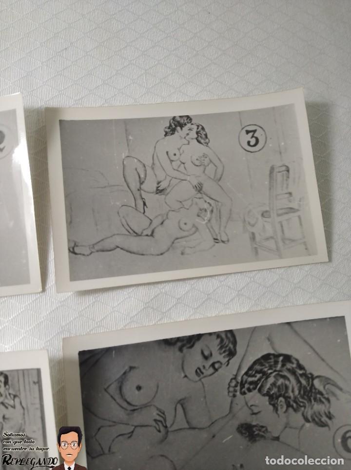 """Postales: COLECCIÓN 10 FOTOS PORNO ERÓTICAS (CROMOS NUMERADOS) """"EL INTRUSO"""" - AÑOS 30/40 - Foto 4 - 230803385"""