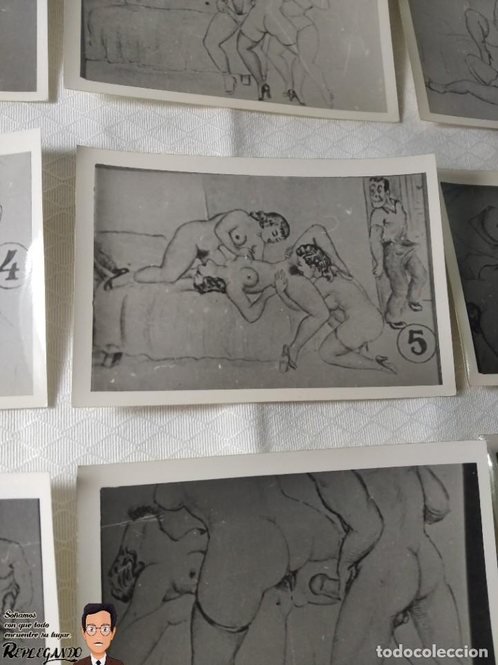 """Postales: COLECCIÓN 10 FOTOS PORNO ERÓTICAS (CROMOS NUMERADOS) """"EL INTRUSO"""" - AÑOS 30/40 - Foto 6 - 230803385"""