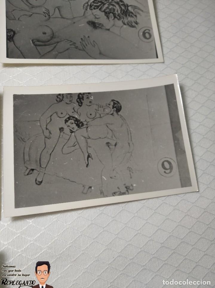 """Postales: COLECCIÓN 10 FOTOS PORNO ERÓTICAS (CROMOS NUMERADOS) """"EL INTRUSO"""" - AÑOS 30/40 - Foto 10 - 230803385"""