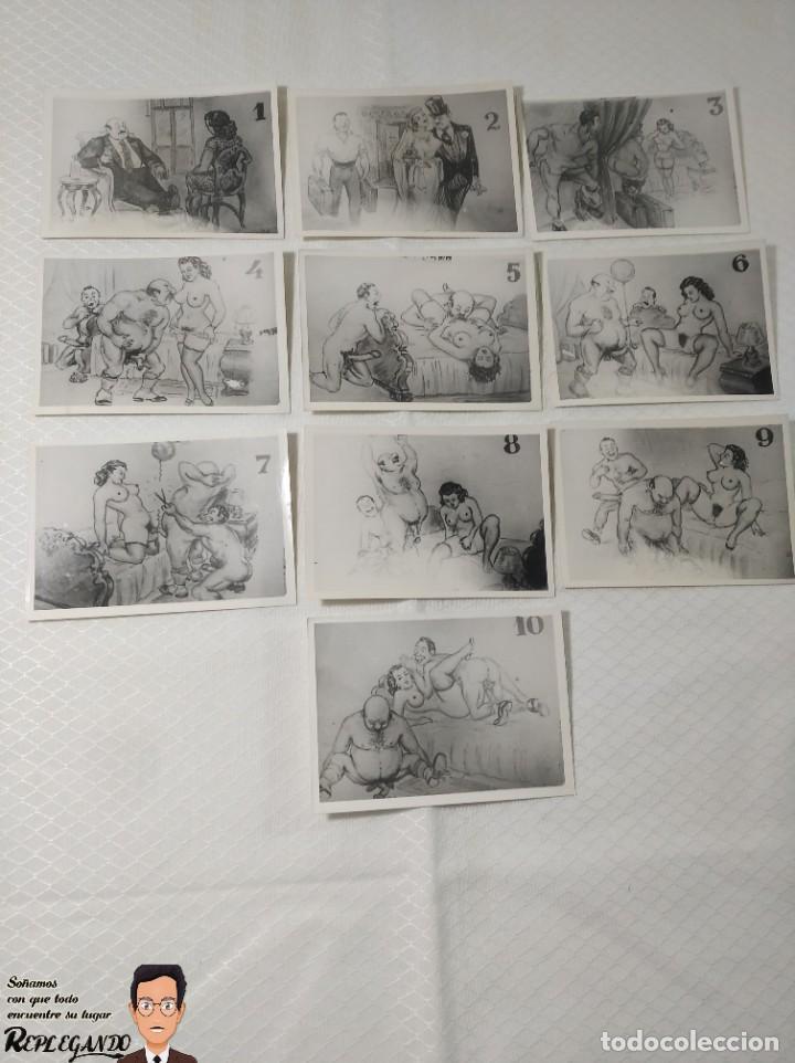 """COLECCIÓN 10 FOTOS PORNO ERÓTICAS (CROMOS NUMERADOS) """"CUIDADO AL CASARTE"""" - AÑOS 30/40 (Coleccionismo para Adultos - Postales Temáticas - Eróticas y Pin Ups)"""