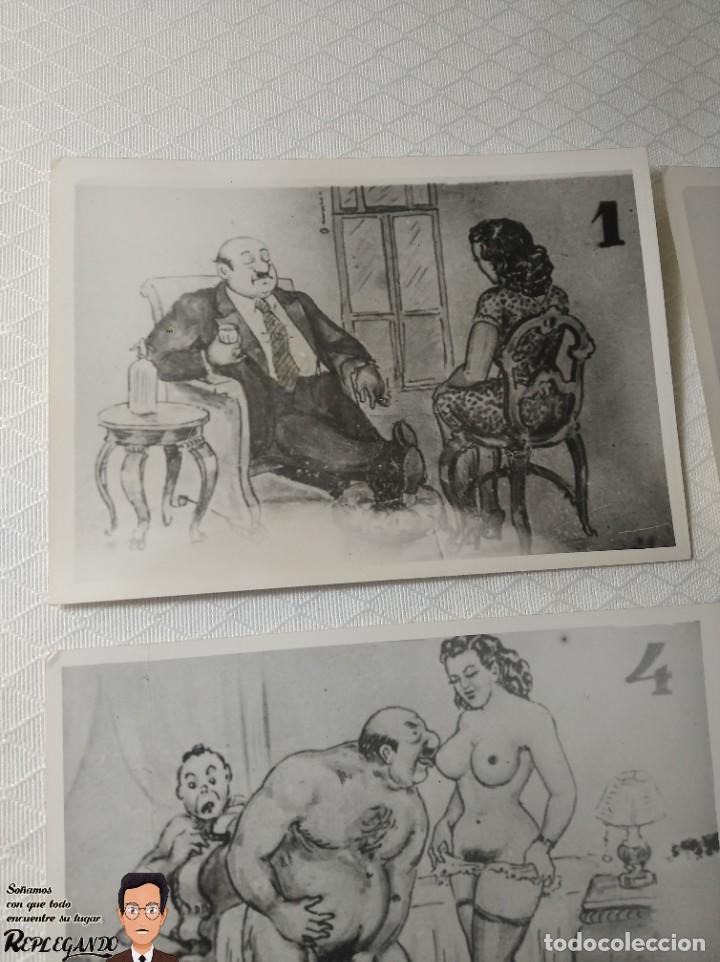 """Postales: COLECCIÓN 10 FOTOS PORNO ERÓTICAS (CROMOS NUMERADOS) """"CUIDADO AL CASARTE"""" - AÑOS 30/40 - Foto 2 - 230803500"""