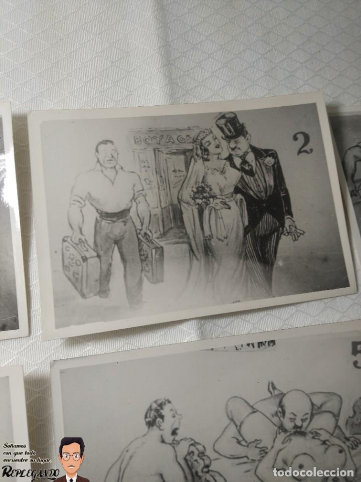 """Postales: COLECCIÓN 10 FOTOS PORNO ERÓTICAS (CROMOS NUMERADOS) """"CUIDADO AL CASARTE"""" - AÑOS 30/40 - Foto 3 - 230803500"""