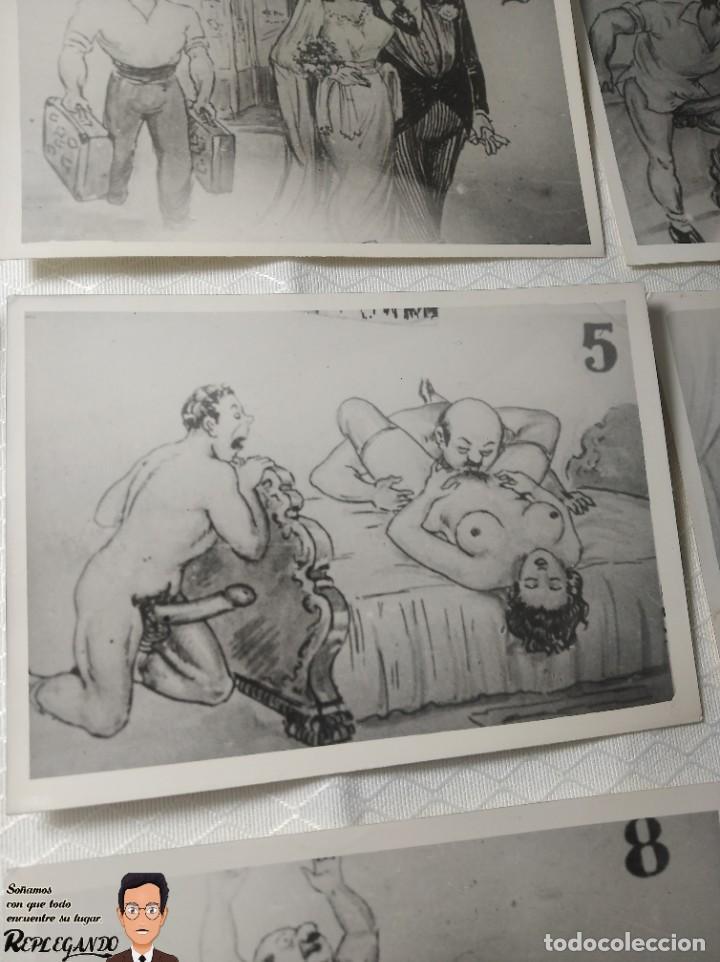 """Postales: COLECCIÓN 10 FOTOS PORNO ERÓTICAS (CROMOS NUMERADOS) """"CUIDADO AL CASARTE"""" - AÑOS 30/40 - Foto 6 - 230803500"""