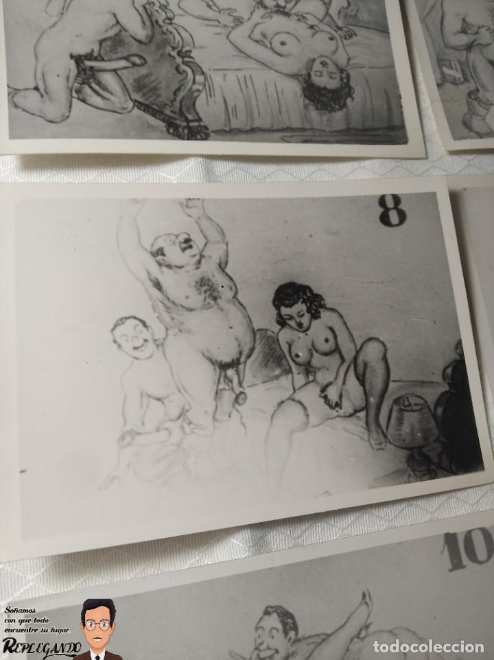 """Postales: COLECCIÓN 10 FOTOS PORNO ERÓTICAS (CROMOS NUMERADOS) """"CUIDADO AL CASARTE"""" - AÑOS 30/40 - Foto 9 - 230803500"""