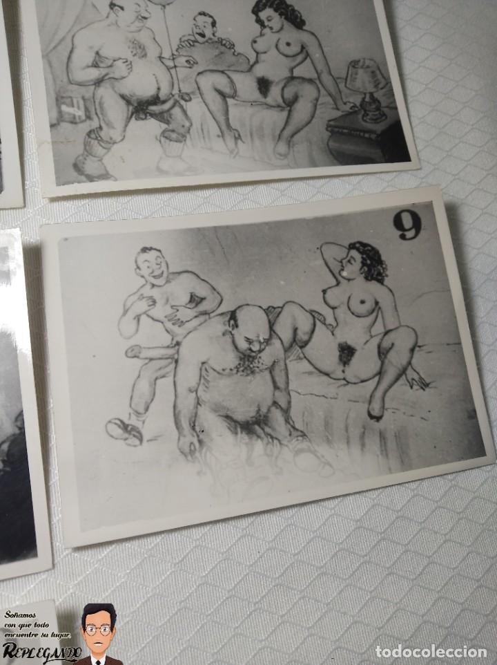 """Postales: COLECCIÓN 10 FOTOS PORNO ERÓTICAS (CROMOS NUMERADOS) """"CUIDADO AL CASARTE"""" - AÑOS 30/40 - Foto 10 - 230803500"""