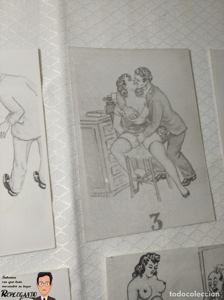 """Postales: COLECCIÓN 10 FOTOS PORNO ERÓTICAS (CROMOS NUMERADOS) """"LA SECRETARIA"""" - AÑOS 30/40 - Foto 4 - 230803830"""