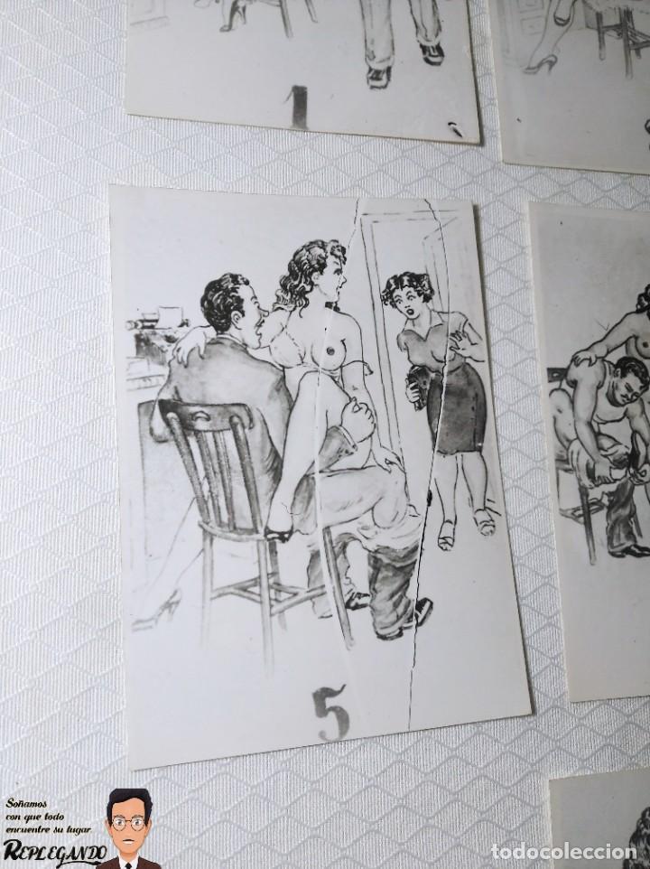 """Postales: COLECCIÓN 10 FOTOS PORNO ERÓTICAS (CROMOS NUMERADOS) """"LA SECRETARIA"""" - AÑOS 30/40 - Foto 6 - 230803830"""