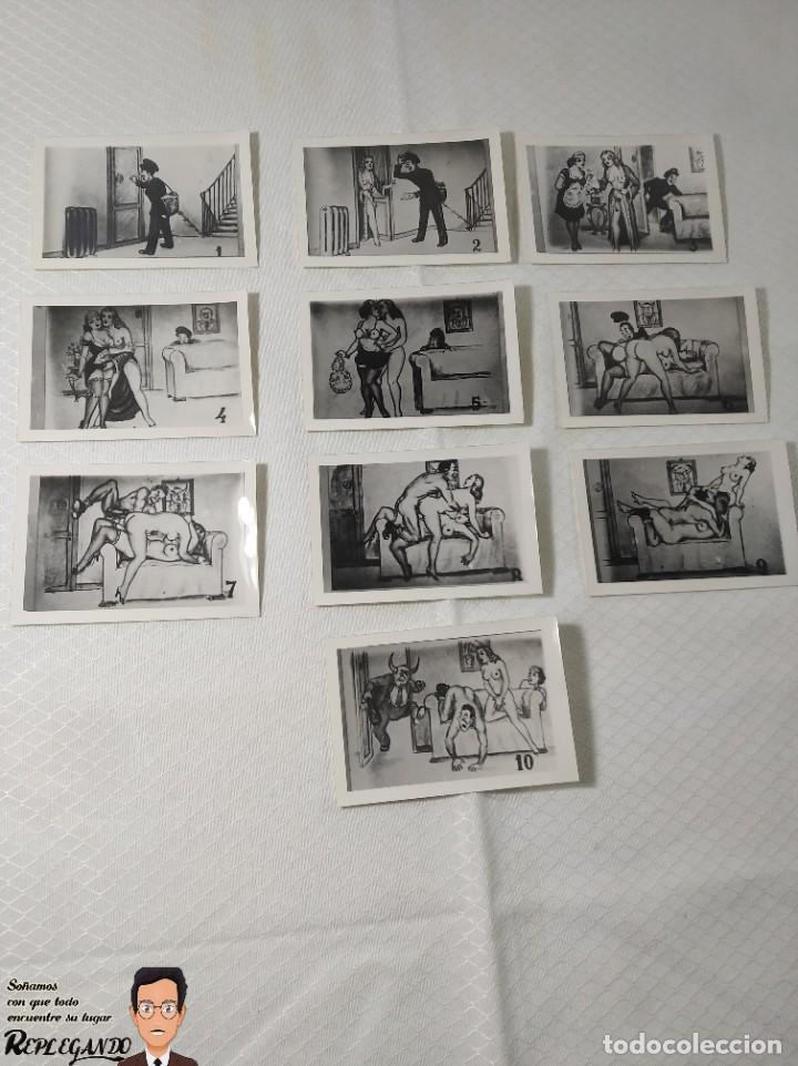 """COLECCIÓN 10 FOTOS PORNO ERÓTICAS (CROMOS NUMERADOS) """"EL CARTERO"""" - AÑOS 30/40 (Coleccionismo para Adultos - Postales Temáticas - Eróticas y Pin Ups)"""