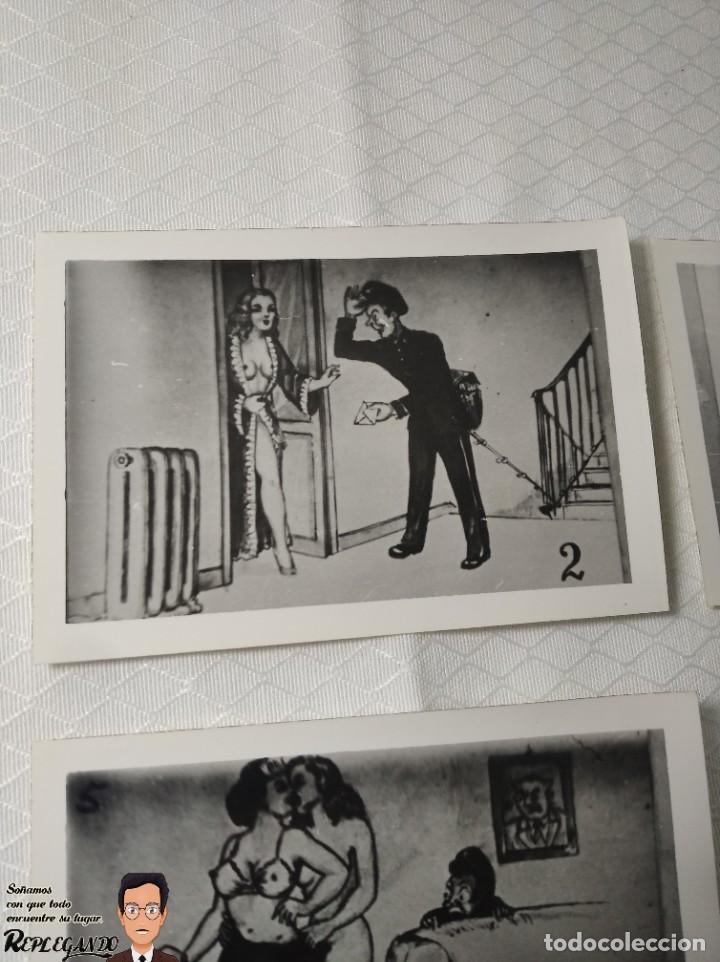 """Postales: COLECCIÓN 10 FOTOS PORNO ERÓTICAS (CROMOS NUMERADOS) """"EL CARTERO"""" - AÑOS 30/40 - Foto 3 - 230804320"""