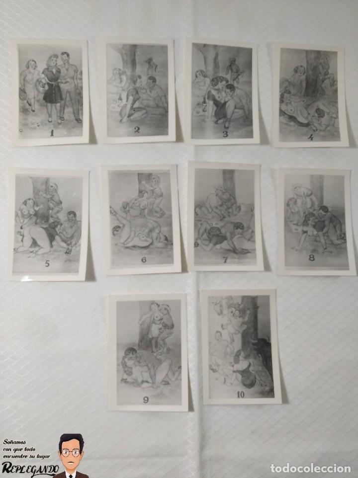 """COLECCIÓN 10 FOTOS PORNO ERÓTICAS (CROMOS NUMERADOS) """"MERIENDA EN EL CAMPO"""" - AÑOS 30/40 (Coleccionismo para Adultos - Postales Temáticas - Eróticas y Pin Ups)"""
