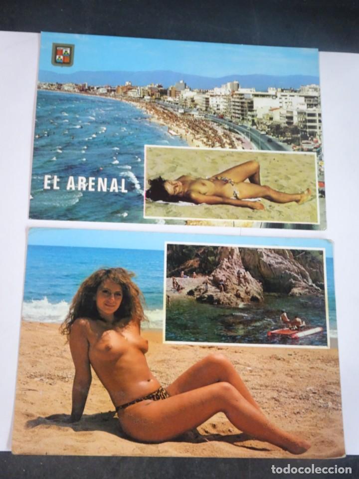 LOTE DE 2 POSTALES PLAYA, TOPLESS , VER FOTOS (Coleccionismo para Adultos - Postales Temáticas - Eróticas y Pin Ups)