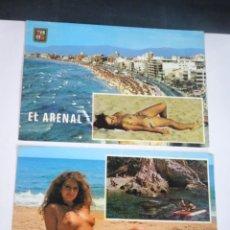 Postales: LOTE DE 2 POSTALES PLAYA, TOPLESS , VER FOTOS. Lote 245245400