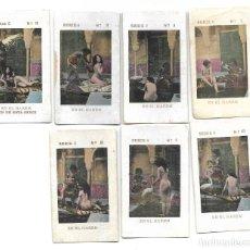 Postales: SERIE 8 UN DUELO - 7 CROMOS ERÓTICOS ORIGINALES PRINCIPIOS SIGLO XX. Lote 295330183