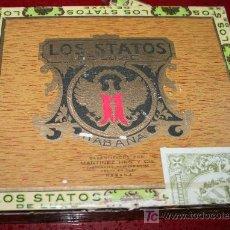 Cajas de Puros: ANTIGUA CAJA DE PUROS DE MADERA VACIA - LOS STATOS DE LUXE - HABANA. Lote 21609948