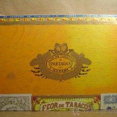 Cajas de Puros: ANTIGUA CAJA DE PUROS MADERA - PARTAGAS 25 PERFECTOS -FLOR FINA ¡¡ BOCETON M.B.E ¡¡ PURO TABACO. Lote 37212078