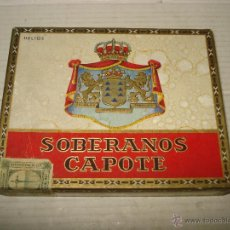 Cajas de Puros: ANTIGUA CAJA DE PUROS VACIA DE SOBERANOS LA FABRICA DE TABACOS DE CAPOTE S.A. EN LA PALMA -CANARIAS. Lote 43326387