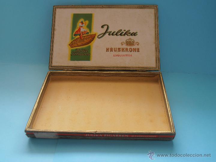 Cajas de Puros: Caja puros Hauskrone Julika Zigarren. Alemania. ¡Rara!. Vacía. Años 60`s #FV-R - Foto 6 - 43690602