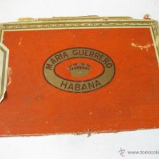 Cajas de Puros: TAPA DE MADERA DE CAJA DE PUROS MARIA GUERRERO HABANA. Lote 45224418