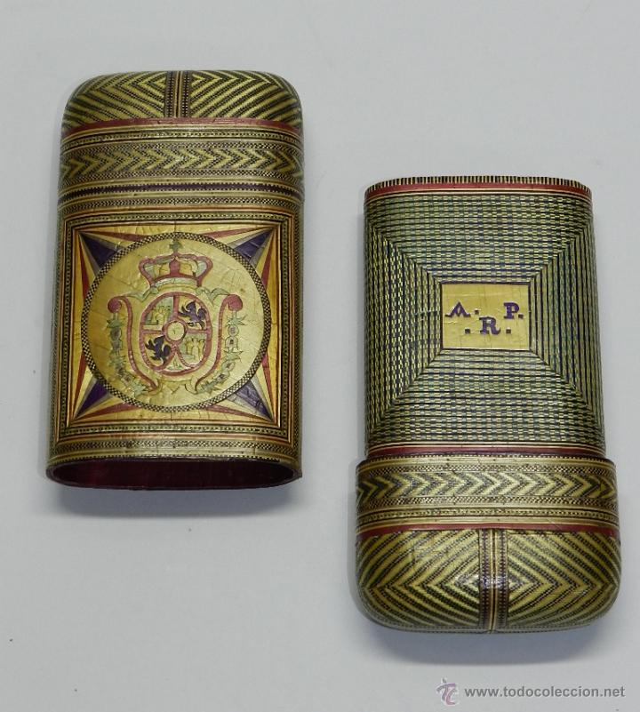 PHILIPPINES ANTIGUA TABAQUERA REALIZADO POR ENCARGO, SIGLO XVIII O XIX, DE FILIPINAS, CON ESCUDO (Coleccionismo - Objetos para Fumar - Cajas de Puros)