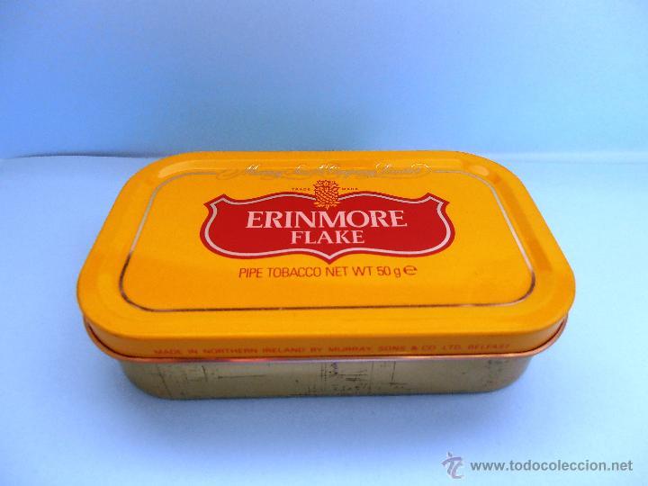 CAJA RECTANGULAR METÁLICA ERINMORE FLAKE. MURRAY SONS. BELFAST. 1989 VACIA #FV-R (Coleccionismo - Objetos para Fumar - Cajas de Puros)