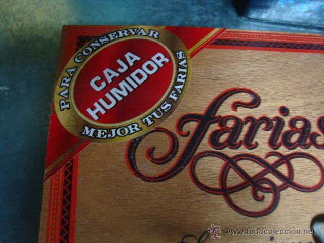Cajas de Puros: CAJA PUROS FARIAS SUPERIORES CAJA DE MADERA CON HUMIDIFICADOR(LLENA SIN ABRIR) - Foto 2 - 103863884