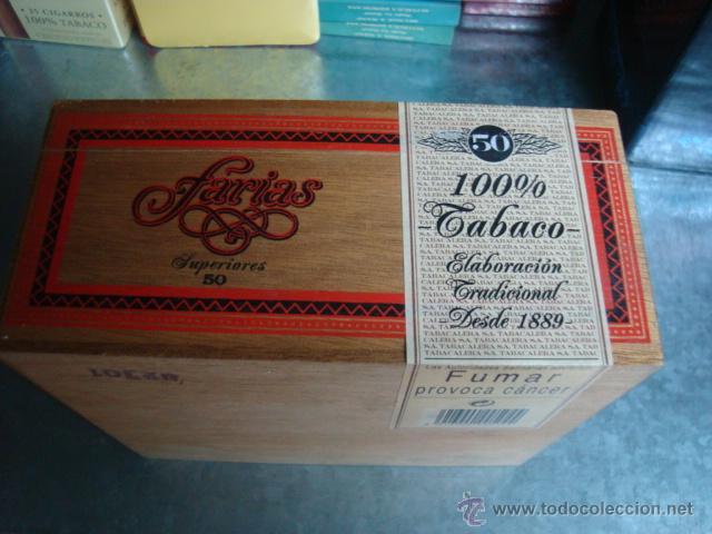 Cajas de Puros: CAJA PUROS FARIAS SUPERIORES CAJA DE MADERA CON HUMIDIFICADOR(LLENA SIN ABRIR) - Foto 4 - 103863884