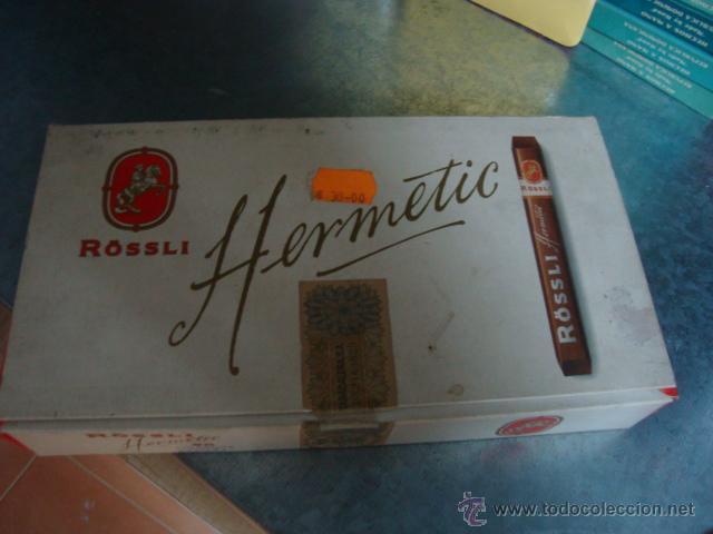 CAJA DE PUROS ROSSLI HERMETIC -ABIERTA-CAJA PASO DEL TIEMPO.PUROS BIEN CONSERVADOS (Coleccionismo - Objetos para Fumar - Cajas de Puros)