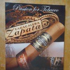 Cajas de Puros: CARTON PUBLICITARIO TABACO - TABAQUERA ZAPATA HONDURAS , PUROS 30,5 X 21,5. Lote 49616774