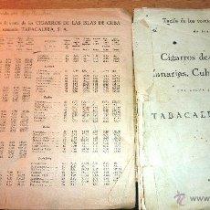 Cajas de Puros: LOTE 2 TARIFA DE PRECIOS CIGARROS CANARIAS FILIPINAS CUBA . 1946 . TABACALERA . 1948 . VITOLAS PURO. Lote 51482073