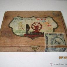 Cajas de Puros: ANTIGUA CAJA VACIA DE CIGARROS PUROS *FLOR FINA* DE RUMBO FAC. TABACOS DE ISLAS CANARIAS. Lote 51892321
