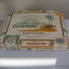 Cajas de Puros: FABRICA DE TABACO QUINTERO Y HNO. HABANOS DE CIENFUEGOS - CUBA CAJA VACIA, DE MADERA CIGARROS PUROS. Lote 54156198