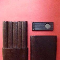 Cajas de Puros: PURERA DE CUERO MARRÓN Y CORTA PUROS. . Lote 55099854