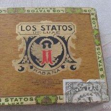 Cajas de Puros: M69 ANTIGUA CAJA DE PUROS HABANOS CIGARROS LOS STATOS DE LUXE VACIA BIEN CONSERVADA. Lote 55786258