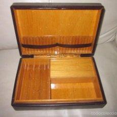 Cajas de Puros: CAJA DE PUROS TABACO DE PIEL CON MUSICA, DE CUERDA MAQUINA FIRMADA SWITZERLAND, FUNCIONANDO. Lote 57302389