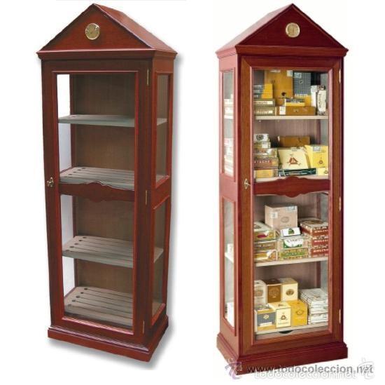 VITRINA CAVA TABACOS. ESPECTACULAR - EXT: CAOBA - INTER: CEDRO ESPAÑOL - HERRAJES LATÓN - LUJO (Coleccionismo - Objetos para Fumar - Cajas de Puros)