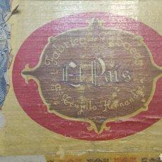 Cajas de Puros: ANTIGUA CAJA DE PUROS VACIA EL PAIS AÑOS 30 MUY RARA. Lote 61697990
