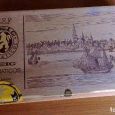 Cajas de Puros: CAJA ANTIGUA DE MADERA PUROS REIG AROMATICOS CALYPSO BASTANTE BONITA IMAGEN BARCOS Y MAR (SUMATRA). Lote 65420255