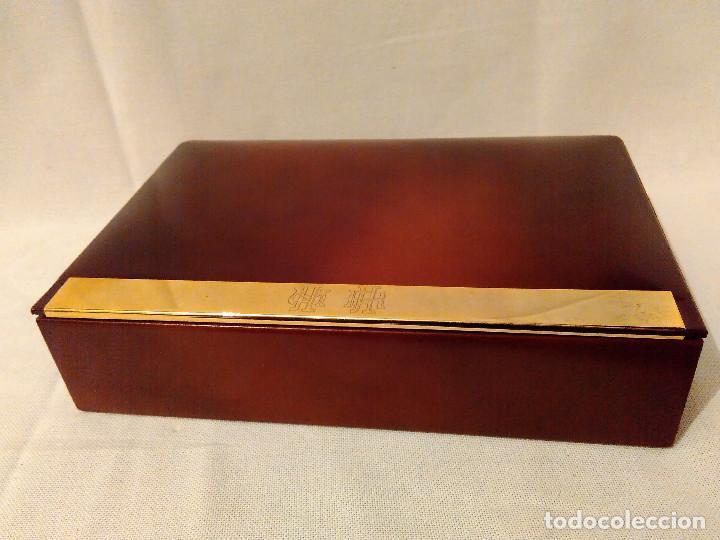 Cajas de Puros: Muy bonita y elegante, caja purera tabaquera,de madera,piel y latón.Perfecto estado - Foto 2 - 172395604