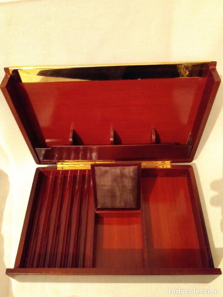 Cajas de Puros: Muy bonita y elegante, caja purera tabaquera,de madera,piel y latón.Perfecto estado - Foto 3 - 172395604