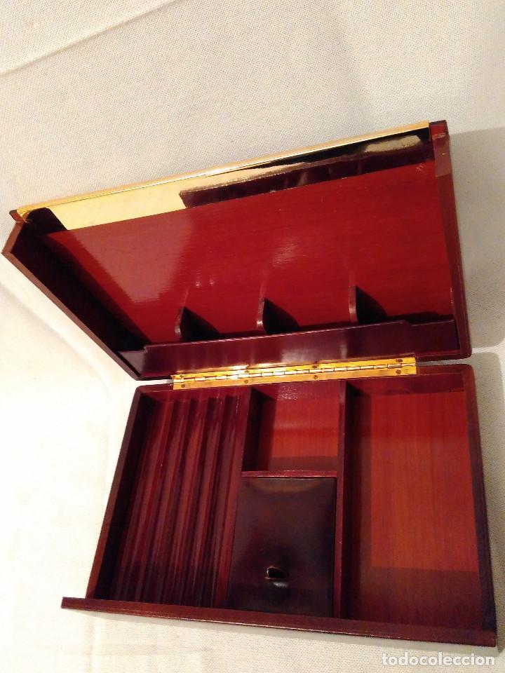 Cajas de Puros: Muy bonita y elegante, caja purera tabaquera,de madera,piel y latón.Perfecto estado - Foto 4 - 172395604