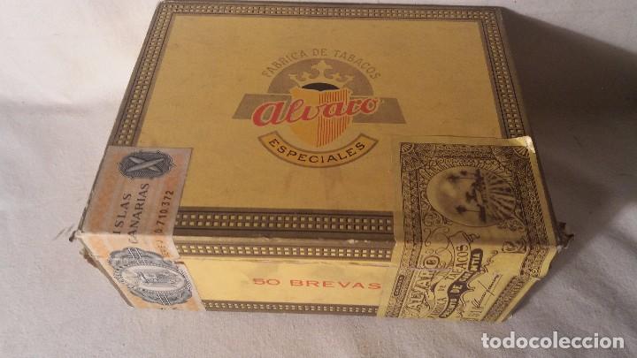 CAJA CAJITA EN MADERA DE TABACO PURO PUROS ALVARO. (Coleccionismo - Objetos para Fumar - Cajas de Puros)