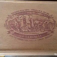 Cajas de Puros: CAJA DE PUROS VACIA DE MADERA CABRERA Nº 3.LA CUMANESA.VENEZUELA. Lote 70132213