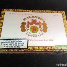 Cajas de Puros: CAJA PUROS MACANUDO MONTEGO Y CIA 25 CIGARROS EXQUISITOS Nº 4 MIDE 21,5 X 14 X 4,2 CM. Lote 70763677