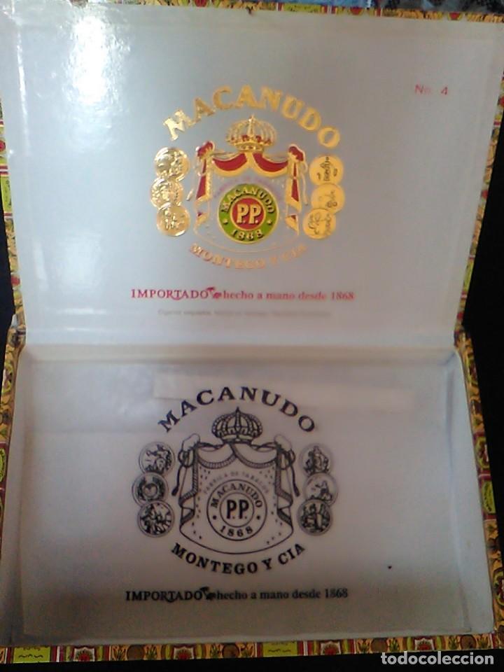 Cajas de Puros: CAJA PUROS MACANUDO MONTEGO Y CIA 25 CIGARROS EXQUISITOS Nº 4 MIDE 21,5 X 14 X 4,2 CM - Foto 2 - 70763677